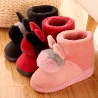 棉拖鞋高帮女居家学生冬季天加厚底防滑小码保暖加绒全包跟可爱