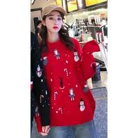 不一样的情侣装秋冬2019圣诞节雪人毛衣同色系针织衫一男一女外套打底衫女毛衣女