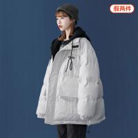 工装棉服女韩版宽松短款bf冬季加厚潮牌原宿风拼接假两件棉袄外套