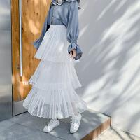 春秋新款韩版很仙搭配上衣的法国小众黑色网纱蛋糕半身裙子女