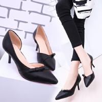 尖头高跟鞋侧空性感细跟5厘米6cm浅口蝴蝶结学生工作单根女士皮鞋