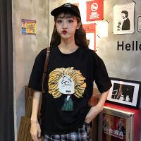 T恤 女士圆领卡通印花短袖2019夏季新款韩版时尚女式休闲洋气半袖女装套头衫