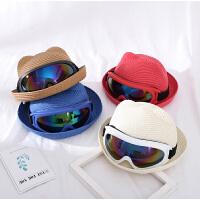 1-5岁 夏季儿童新款可爱墨镜草帽男女童韩版防晒遮阳帽宝宝沙滩帽