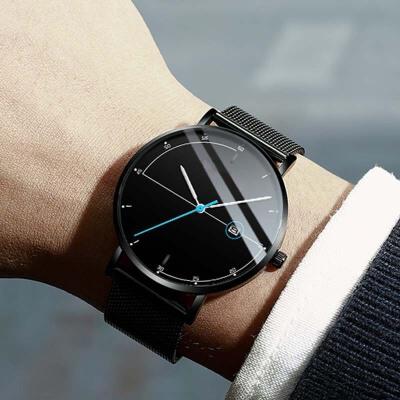 运动潮流简约学生手表虫洞概念全自动机械表男士石英防水超薄男表