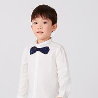 【秒杀价:140元】马拉丁童装男童衬衫2020春夏新款蝴蝶结图案小翻领长袖白衬衫