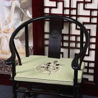 亚麻红实木椅子坐垫中式圈椅黄宫椅太师椅凉席海绵坐垫实木沙发棕垫y 浅绿色 浅绿喜梅亚麻