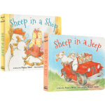 英文原版绘本 0 2 3岁 Sheep in a Jeep/Sheep in a Shop 大本纸板书 2册合售 廖彩