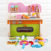 木制过家家儿童厨房玩具套装女孩宝宝切切看烧饭做饭煮饭仿真厨具