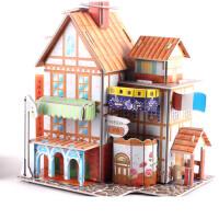 3d立体拼图儿童早教玩具3-6岁男孩女孩宝宝手工纸质房子模型 巧克力色 旅馆