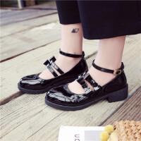 日系制服鞋女一字扣带圆头洛丽塔小皮鞋蝴蝶结软妹子单鞋 娃娃鞋 黑色