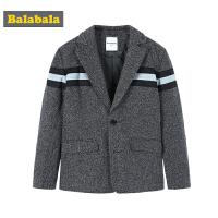 巴拉巴拉男童西服外套儿童2019新款春季中大童童装羊毛呢休闲上衣