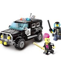 儿童玩具积木拼装男孩塑料拼插警车模型5-8-12岁礼物