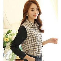 韩版女装显瘦条纹长袖女衬衫女士打底衬衣女雪纺衫