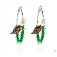 时尚甜美耳饰 花朵树叶仿珍珠仿水晶耳环耳圈饰品 可换无耳洞耳夹