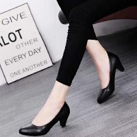 高跟鞋职业女鞋2017春秋黑色5cm正装粗跟浅口工作大码软皮鞋单鞋