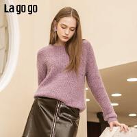 【清仓3折价128.7】Lagogo/拉谷谷2019新款简约时尚针织衫女HCMM46XC40