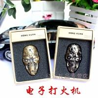 创意个性金属骷髅头 USB打火机 电点烟器 装饰充电打火机礼品