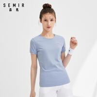 森马短袖T恤女2021夏季新款清爽干净透气运动上衣运动休闲t恤女装
