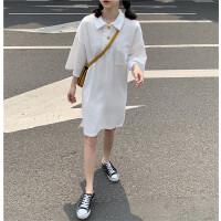 夏款韩国宽松侧开叉polo领连衣裙后背字母印花不规则T恤长裙女 均码