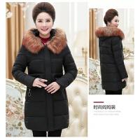 中老年女装冬装棉衣妈妈外套中长款40岁50羽绒中年人加厚棉袄 黑色 毛领可拆卸