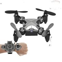 手表无人机航拍 手表控制迷你无人机航拍高清智能折叠无人机定高遥控飞机玩具 灰色无航拍 官方标配