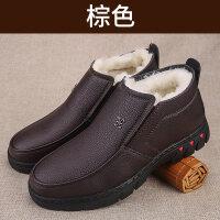 加绒加厚保暖爸爸皮鞋滑软底中老年人爷爷棉鞋男老北京布鞋
