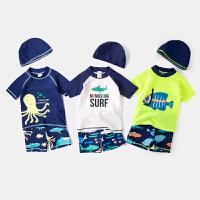 夏季男童泳衣泳裤套装儿童童装分体泳装男宝宝夏装三件套