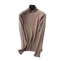新年特惠半高领女短款套头毛衣加厚修身针织衫纯色打底秋冬新款 155/80A