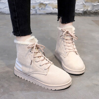 复古保暖雪地靴冬季新款韩版马丁靴加绒高帮棉鞋英伦女鞋学生百搭 米色 KK