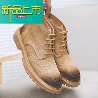 新品上市马丁靴男新款复古男鞋潮大黄真皮英伦短靴子春季休闲工装靴