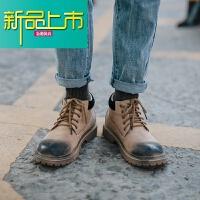 新品上市高帮马丁靴男秋季学生英伦短靴男复古真皮靴子男潮流百搭工装靴男