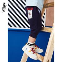 【2件3折价:52.5】迪士尼童装男童儿童米奇七分裤宽松宝宝时尚休闲裤子2020夏装新款