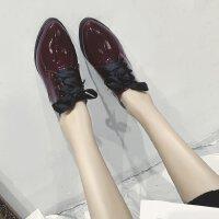 英伦风高跟鞋女低跟3cm小皮鞋尖头布洛克鞋牛津单鞋学生百搭女士