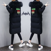 女中长款2019新款韩版棉衣冬季连帽外套过膝修身黑色棉袄 黑色 质量保证 送运费