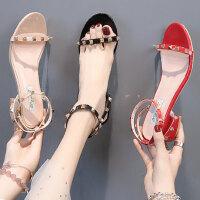 户外凉鞋女高跟时尚生百搭粗跟仙女风配裙子的女鞋