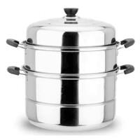 32cm复底二层不锈钢蒸锅家用不锈钢锅双层汤锅蒸馒头包子锅具不锈钢蒸锅