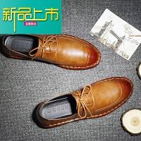 新品上市休闲皮鞋男韩版潮流系带百搭春季新款男鞋子个性时尚英伦男士鞋