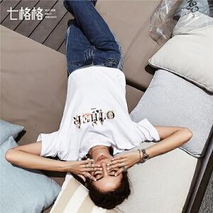七格格白色短袖t恤女ins潮夏装2019新款棉学生韩版宽松百搭上衣潮