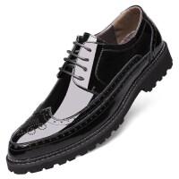 男士皮鞋2018新款英伦风潮流布洛克雕花男鞋休闲韩版黑色真皮鞋子