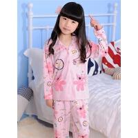 儿童睡衣女童春秋季新款宽松长袖套装小女孩家居服全棉中大童