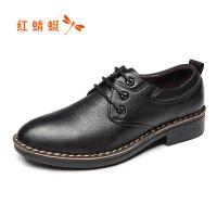 红蜻蜓男真皮正品秋季新款休闲皮鞋软面皮百搭潮流男鞋