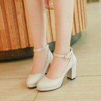 夏季性感高跟鞋粗跟8cm浅口一字扣带方根少女18岁单鞋女宴会皮鞋