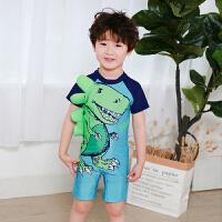 儿童泳衣男童中小童连体恐龙卡通可爱男孩海边防晒游泳温泉宝宝
