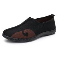 老北京布鞋男单鞋飞织布透气传统云头洒鞋功夫鞋中国风老头爸爸鞋 黑色