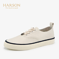 【 限时4折】哈森 2019春夏新款复古牛皮运动休闲鞋 平底帆布女鞋板鞋HS97175