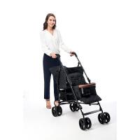 双胞胎婴儿推车前后座二胎神器双人大小孩推车轻便折叠可坐躺 黑色 预售款(4月15号