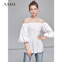 【预估价161元】Amii极简洋气心机复古衬衫女2019夏季新款一字肩泡泡袖全棉上衣
