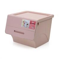 翻盖收纳箱儿童玩具储物箱子塑料斜口箱衣服衣物整理箱零食收纳筐