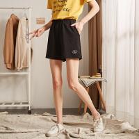 【2件3折价57元】唐狮2019夏季新款运动短裤女宽松高腰休闲短裤黑色跑步短裤女学生