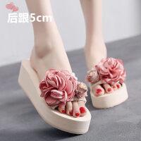 高跟韩版拖鞋女夏外穿时尚一字拖厚底凉拖平底女士室外坡跟沙滩鞋
